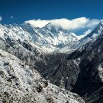 Snow covered hills in lower altitude while trekking